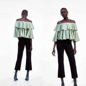 Zara Off The Shoulder Knit Top Green Wit Metallic